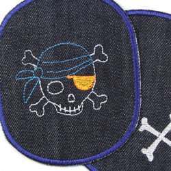 large iron-on jeans patch for children's trousers with pirate skull