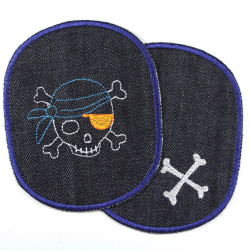 Jeans patches for children's trousers with pirate skull and bones