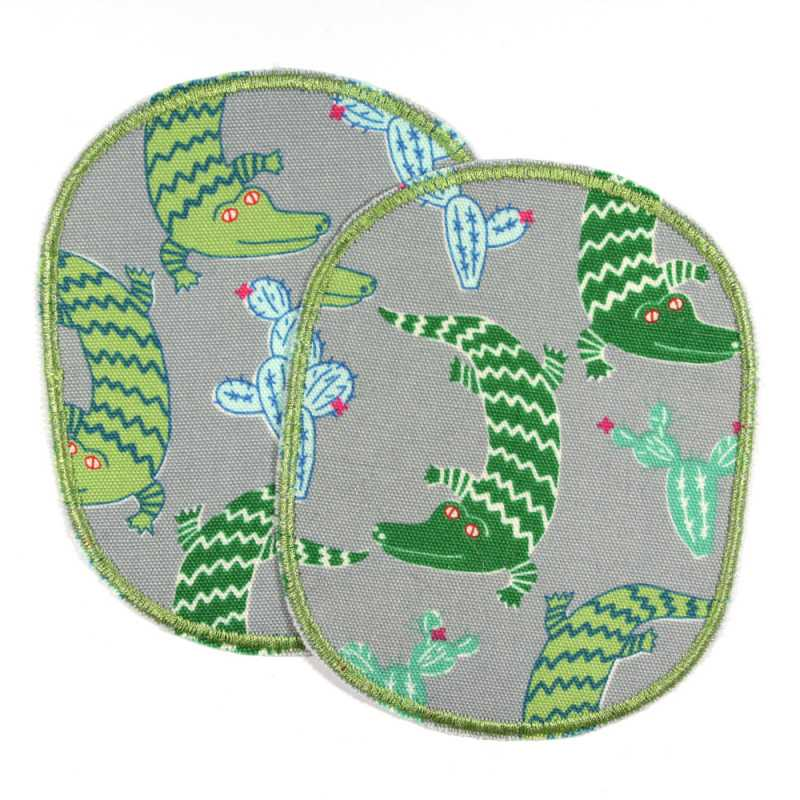 Large iron-on knee patches with green crocodiles 2 iron-on patches gray green