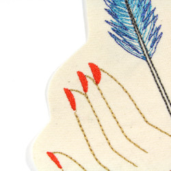 Arrows and fingers from a hand embroidered on cream as a great accessory for denim jackets