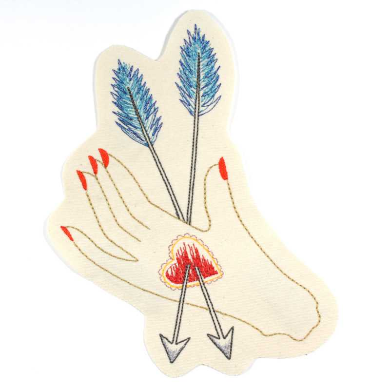 embroidered hand with heart and arrows as a large iron-on patch for denim jackets