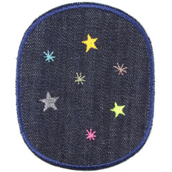 Iron-on trouser patches with a glittering star motif, 12 x 10cm
