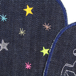 Glitter stars and neon knee patches motif for children