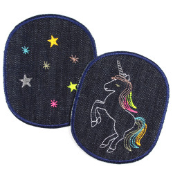 2 large iron-on patches with unicorn and stars on organic blue jeans to iron on
