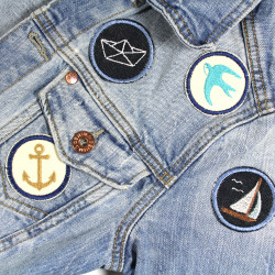 Iron-on jeans jacket with maritime patches for adults