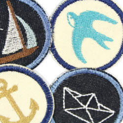 embroidered maritime iron-on patch for adults with sailboat, anchor, paper boat and swallow motif