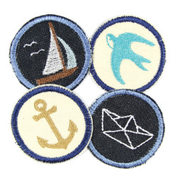 4 small round maritime iron-on tpatches for adults with boat anchor and swallow motif