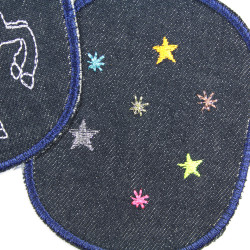 Iron-on trouser patches with a glittery star motif 10 x 8cm