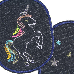 Iron-on trouser patches with unicorn motif 10 x 8cm