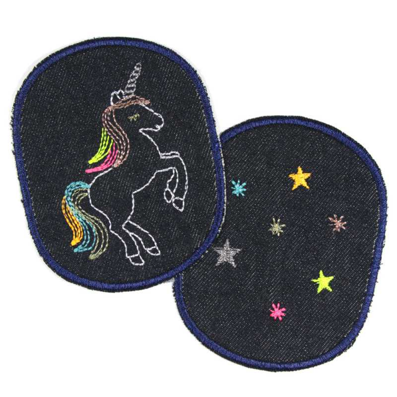 2 girls iron-on patches with unicorn and stars on organic blue jeans to iron on