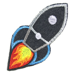 Iron-on patches rocket iron-on patches made of organic jeans with neon colors