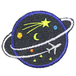Iron-on patches Planet with airplane Iron-on patches made of organic jeans with neon colors