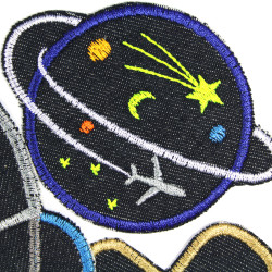 Iron-on jeans patches as a set of 3 patches with aviation and aerospace motifs