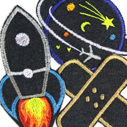 embroidered iron-on patches rocket planet with plane and band aid / 3 iron-on patches in a set