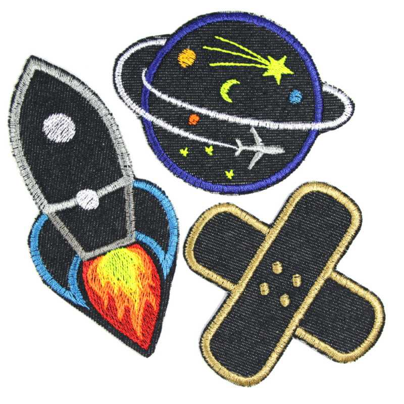 3 iron-on patches rocket planet plaster made of organic jeans