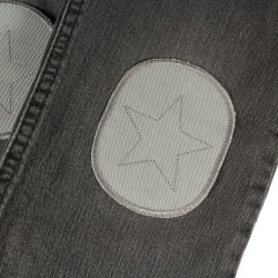 gray black trousers with gray iron-on patches quickly and nicely repaired. Simply iron on at the knee.