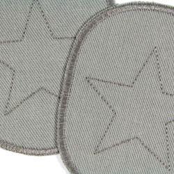 embroidered patches in gray with a star in 10 x 8cm to iron on detail
