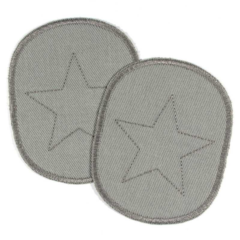 Patch set of retro stars and asterisks on gray, tearproof organic cotton, and ideal as a knee patch