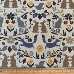 cosmo fabrics cotton bunny fox cat pigeon flower squirrel