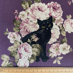 cosmo fabrics cats and roses purple cotton fabric