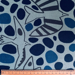 light blue cotton fabric with birds, big dots by Cosmo