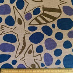 cream white cotton fabric with birds, big dots by Cosmo