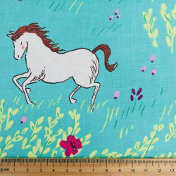 Fabric cotton fabric with horses on grassland of Michael Miller