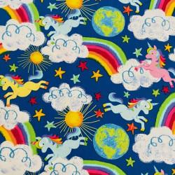 Cotton Fabric Fabrics Unicorn Rainbow Sun Earth Timeless Treasures Fabrics