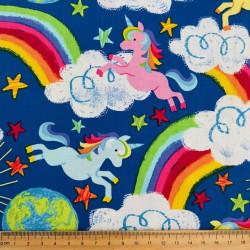 Cotton Fabric Fabrics Unicorns Rainbows for Kids Timeless Treasures Fabrics