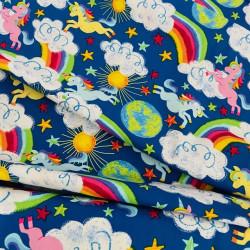 Cotton fabrics with colorful unicorn motif on blue timeless treasures fabrics