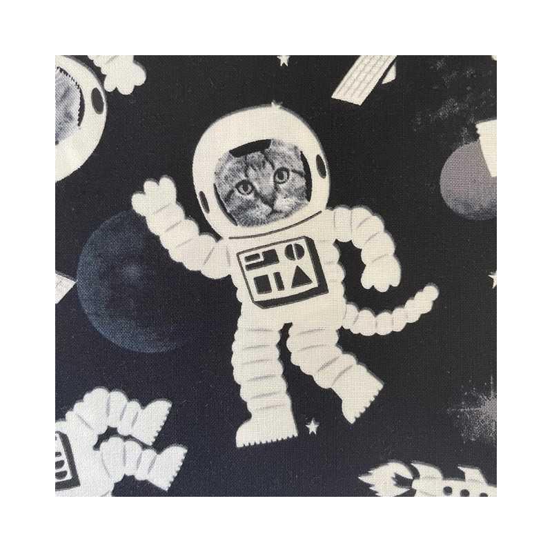 Patchwork fabric cat astronaut fabric timeless treasures