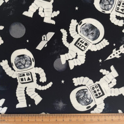 Patchwork fabric cats in space Astronaut Star Fabric Timeless Treasures