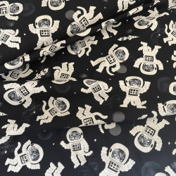 Cotton Fabric Cat in Space Suit Before Planet Fabric Timeless Treasure Space