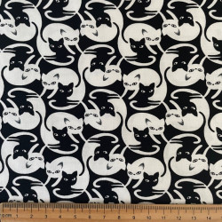 Cotton fabric cats Yin and Yang Cat-C6430 by timeless treasure