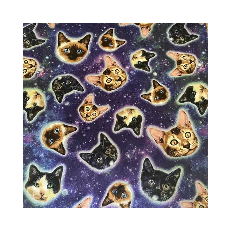 Patchwork fabric cats in space fabric timeless treasures