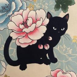 Fabrics cat and flower cotton fabric