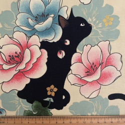 Fabrics Cats in the middle of flowers Cotton fabric