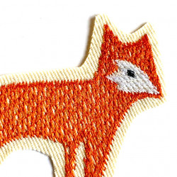 Embroidered fox applique on organic cotton nettle fabric to iron on