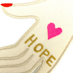 """gold colored embroidery """"HOPE"""" on hand motif patch to iron on to repair jackets or to individualize."""