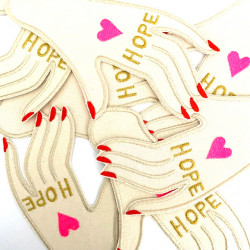 """Design embroidery motif hand """"Hope"""" with metallic and neon colors embroidered as a large patch for adults"""