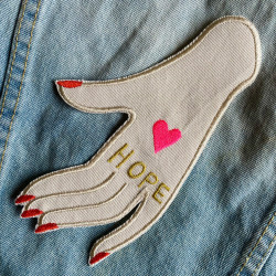 """Design a high-quality denim jacket with an iron-on patch """"HOPE"""" - an iron-on patch for adults"""