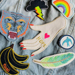 Combine neon patches to iron on - just iron on the patches and design the most beautiful denim jacket in the world