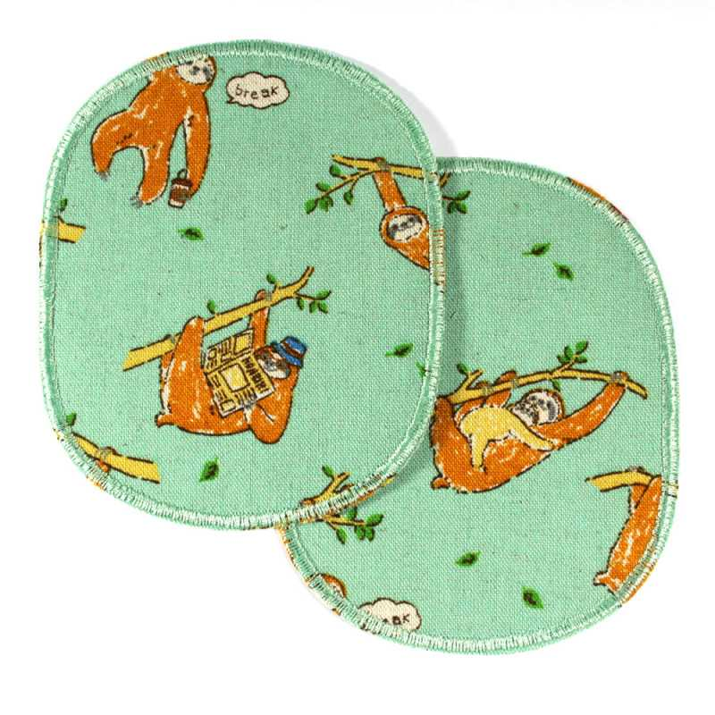Large iron-on knee patches with cute sloths 2 iron-on patches light green