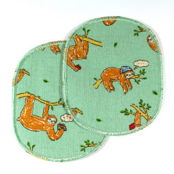 Large patch set with sloths for children, 2 patches printed in color on green