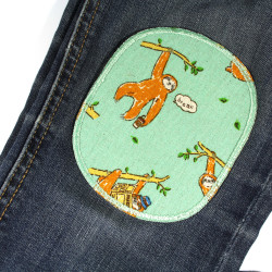Iron-on patches with sloths as a motif for repairing trousers ideal for the knee 2 pieces