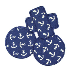 3 iron-on patches with white anchors on dark blue