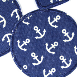 Patch set 3 iron on patches to repair with a maritime motif white on dark blue