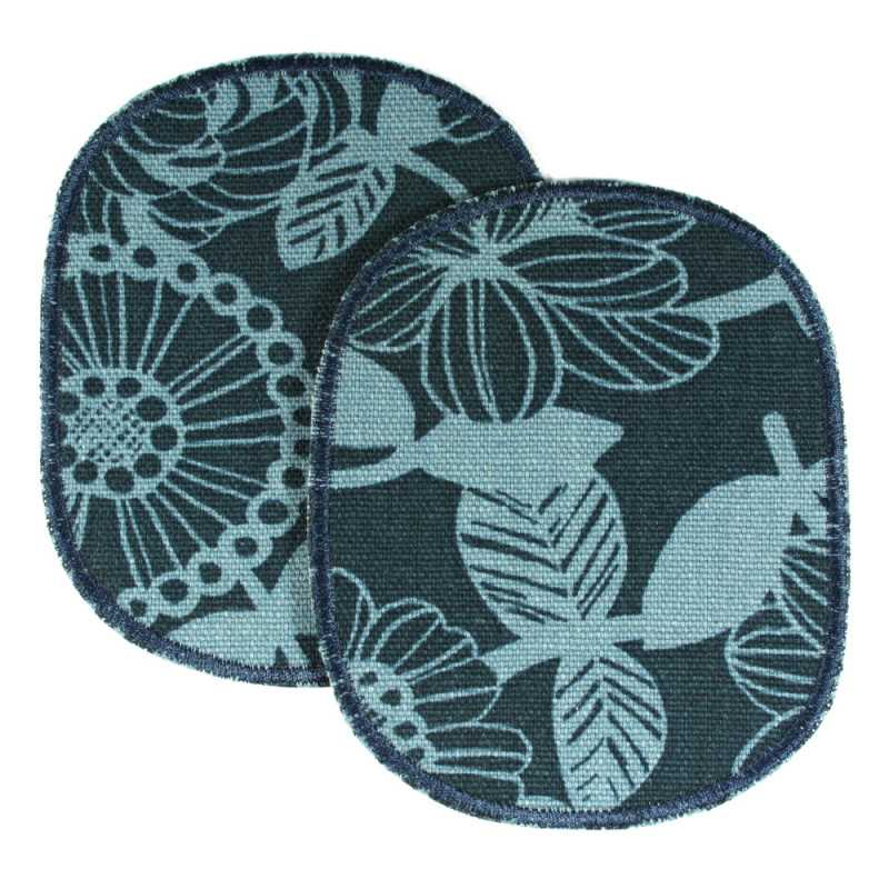 Iron-on patches flowers light blue on dark blue 2 knee patches large 12 x 10 cm to mend