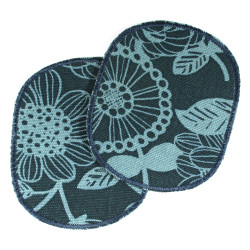 Knee patches with nature motif flower 2 large patches in a set for children's trousers