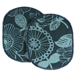 Trouser patches with light blue flowers on dark blue 2 large iron-on patches